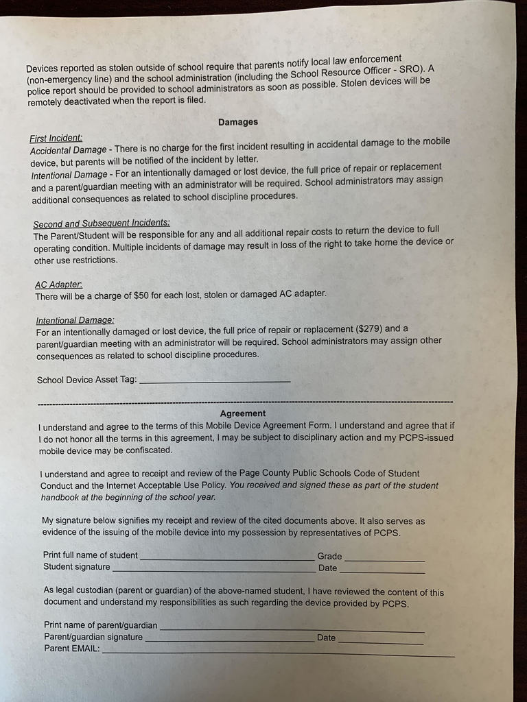 Mobile Device Agreement Form