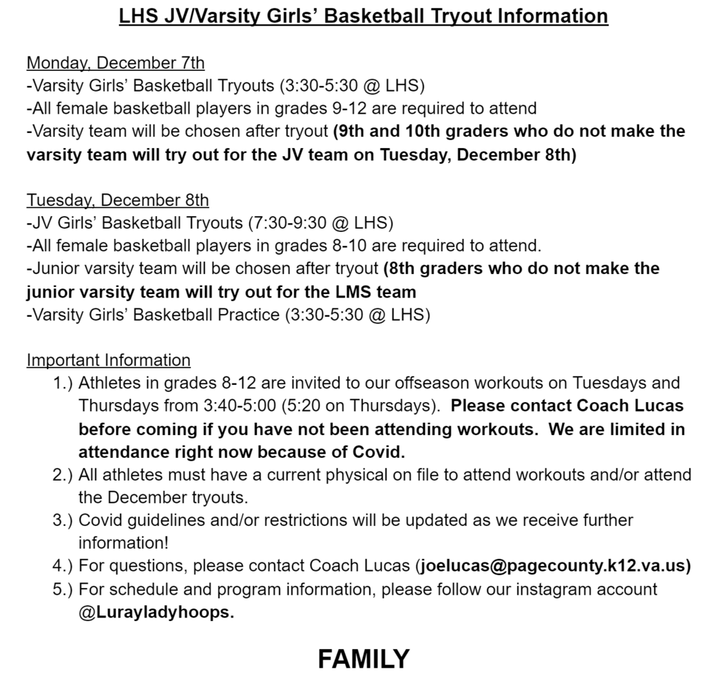 LHS girls basketball tryouts