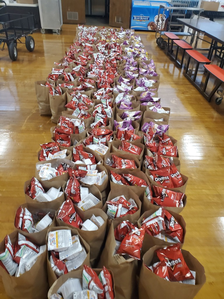 food bags going home with students