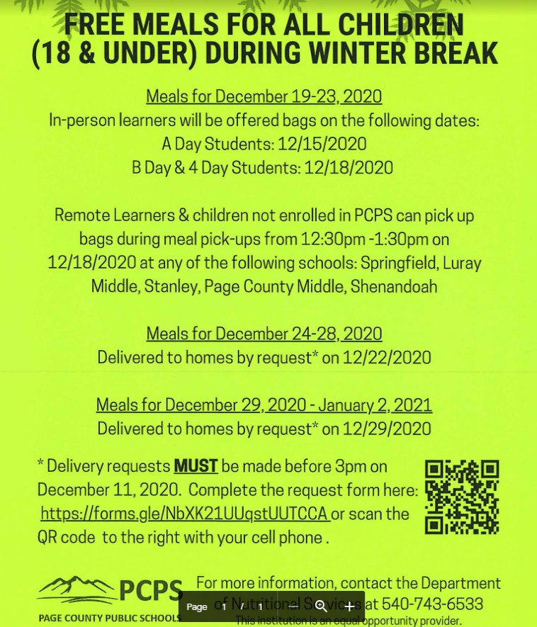 free winter break meals