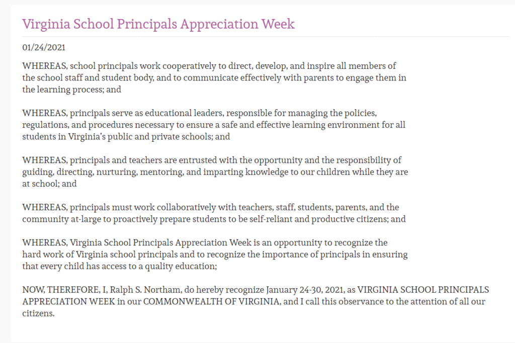 Virginia Principal's Appreciation Week
