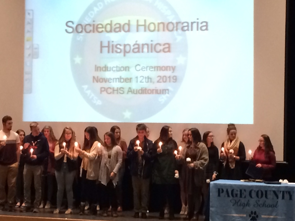 Students inducted in the Spanish Honor Society