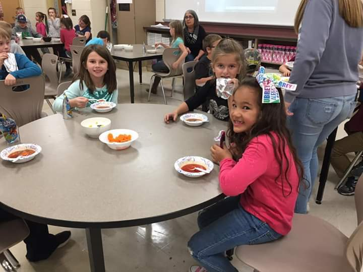 Students enjoying soup made by FCCLA.