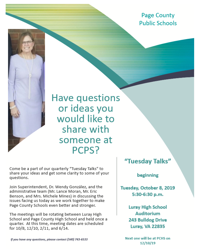 flyer for Tuesday talks