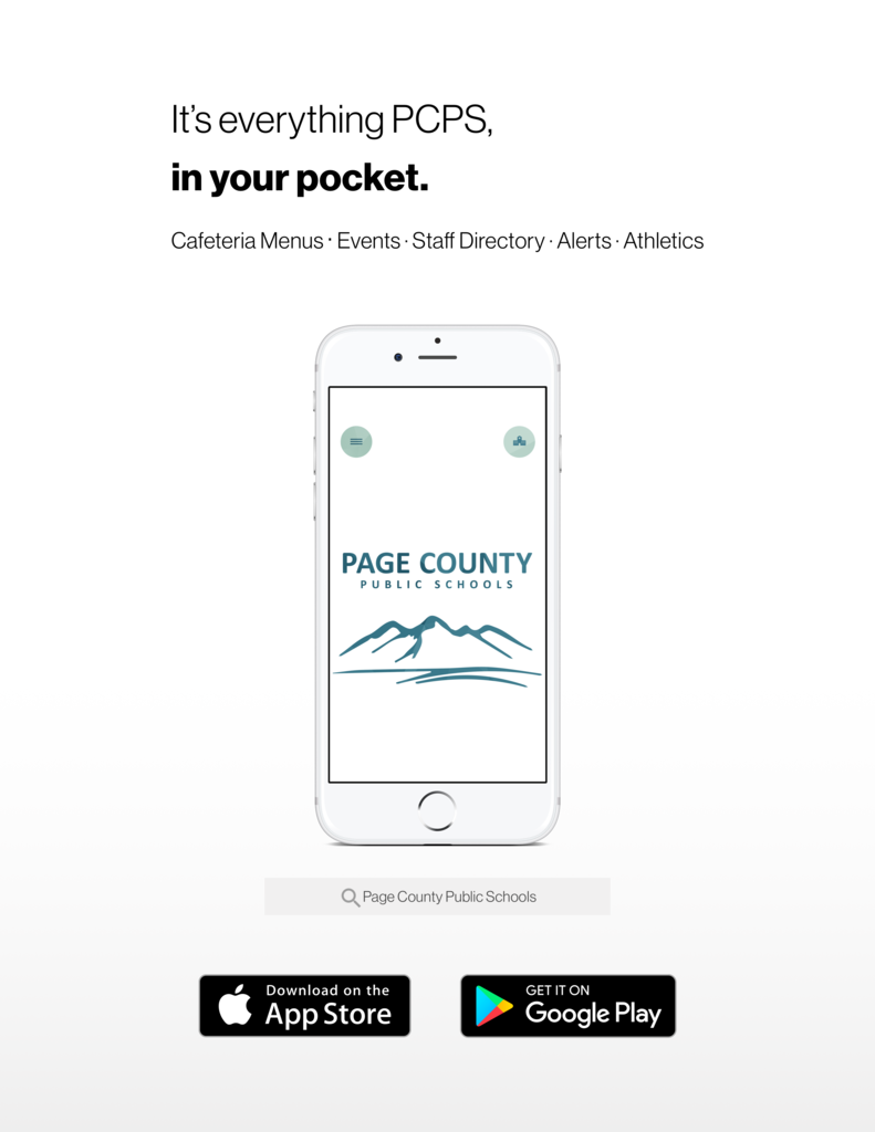 cell phone pic of Page County Public Schools app