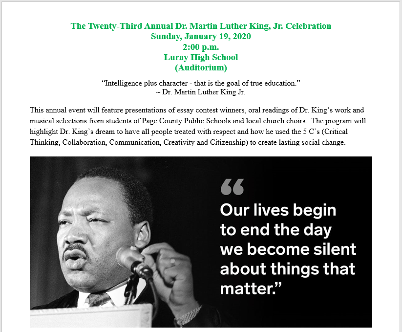 MLK, Jr. flyer for program