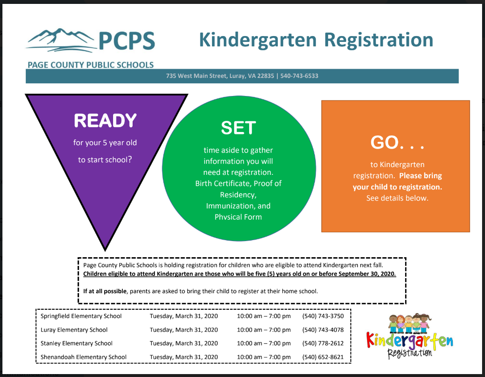 Kindergarten Registration information flyer