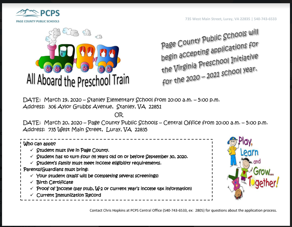 preschool information flier