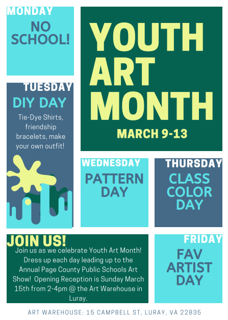 flyer celebrating Youth Art Month