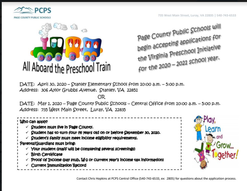 Pre school registration flyer