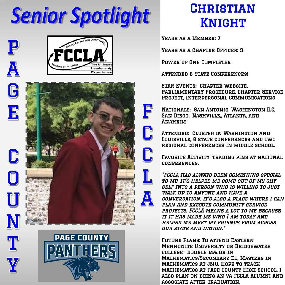 PCHS student, Christian Knight.