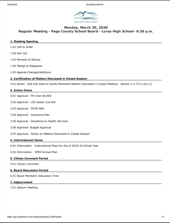 school board meeting agenda 3/30/20