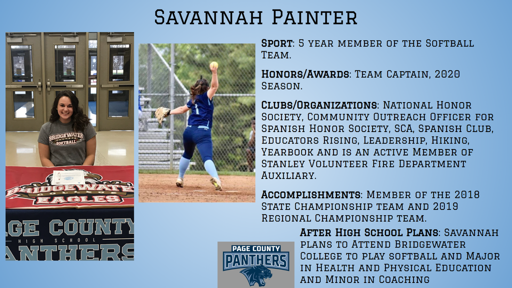 PCHS Senior, Savannah Painter.