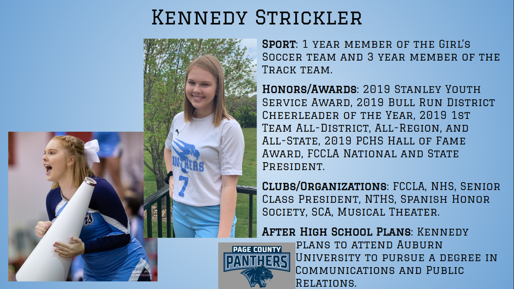 PCHS Senior, Kennedy Strickler.