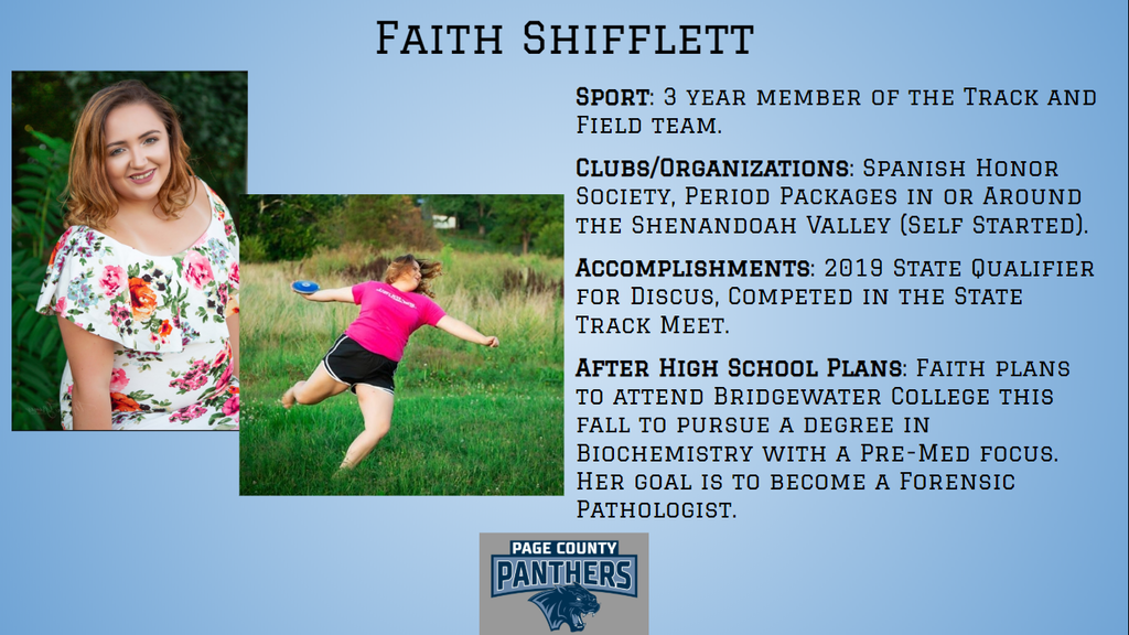 PCHS Senior, Faith Shifflett.