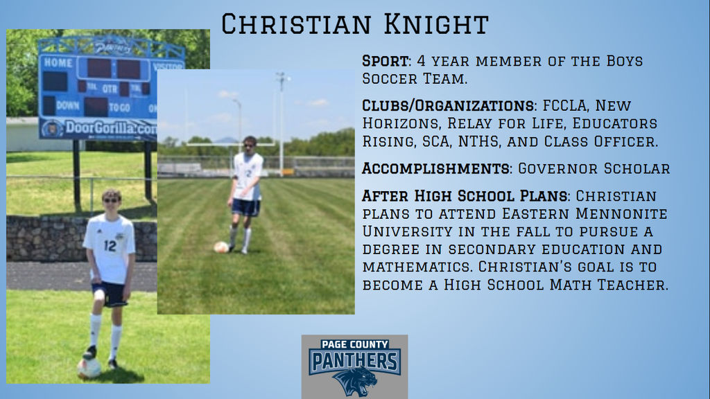 PCHS Senior, Christian Knight.
