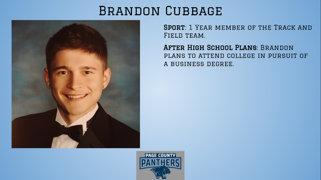 PCHS Senior, Brandon Cubbage.