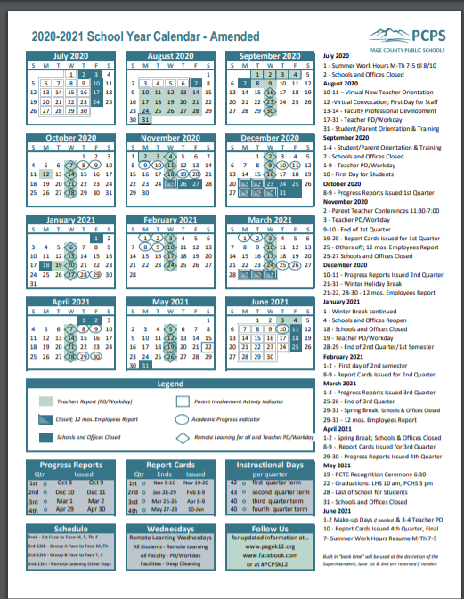 AMENDED 2020-2021 SCHOOL CALENDAR ONE PAGE