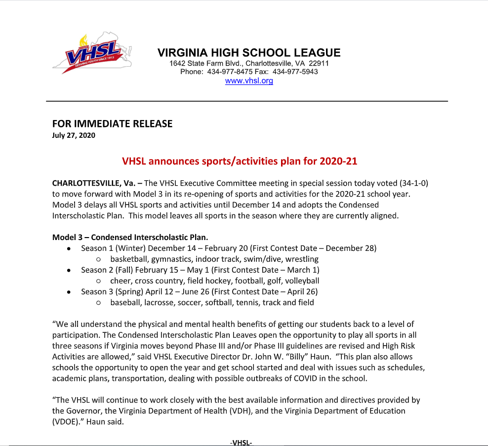 VHSL Sports Announcement