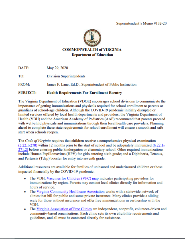 Immunization Entry Requirements