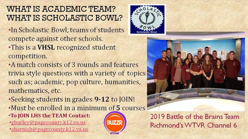 Academic Team Flyer
